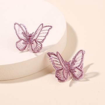 Korea new trendy three-dimensional chiffon butterfly earrings fashion earrings wholesale nihaojewelry NHRN237262