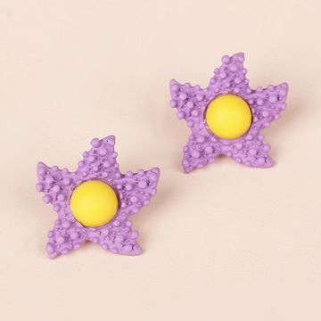 Korea Candy Color Childlike Egg Yolk Star Earrings Purple Star Cute Flower Earrings wholesale nihaojewelry NHRN237264