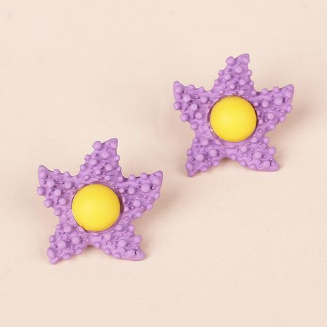 Korea Candy Color Childlike Egg Yolk Star Earrings Purple Star Cute Flower Earrings wholesale nihaojewelry NHRN237264's discount tags