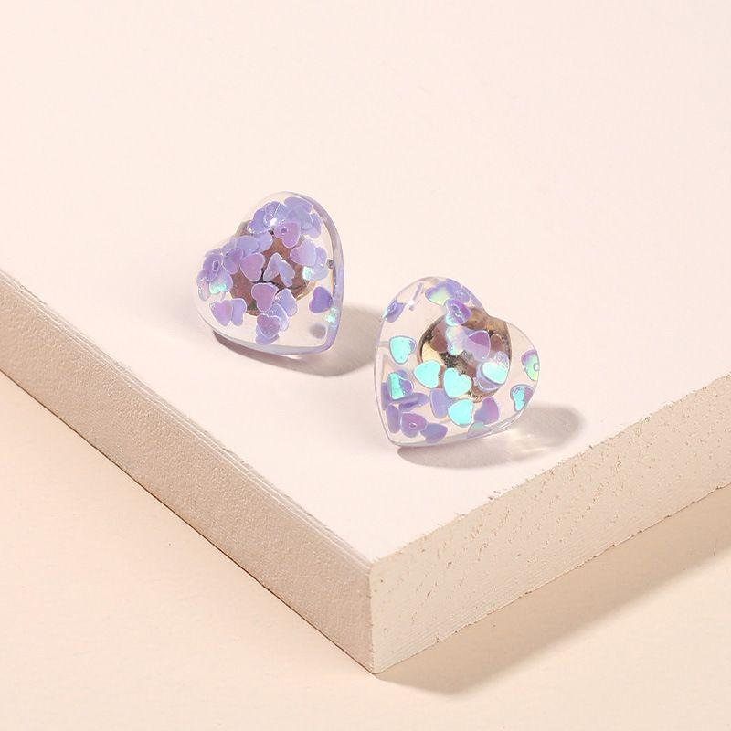 new fashion love transparent resin earrings geometric heart-shaped 925 silver needle earrings wholesale nihaojewelry NHRN237267