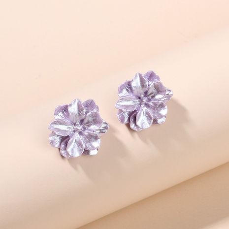 purple resin three-dimensional flower earrings trendy fashion forest 925 silver needle earrings wholesale nihaojewelry NHRN237268's discount tags