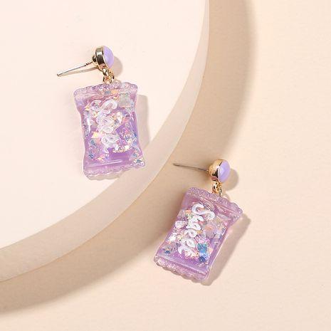 Mode coréenne boucles d'oreilles alphabet anglais série enfantin doux mignon boucles d'oreilles en résine bonbons en gros nihaojewelry NHRN237269's discount tags