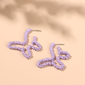 new trendy hollow purple butterfly earrings sweet dreamy taro purple retro earrings wholesale nihaojewelry NHRN237270