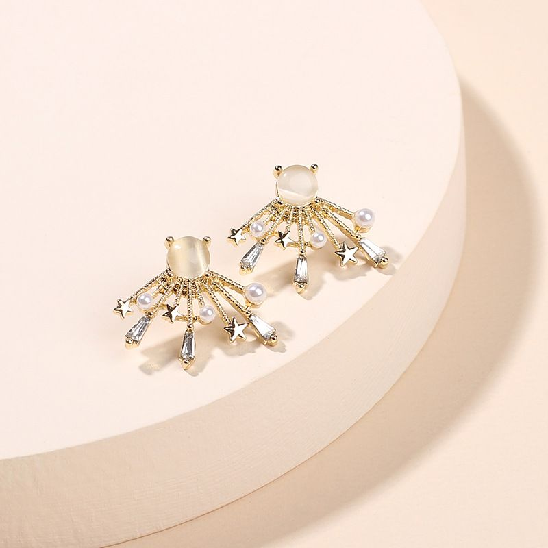 Korean fashion hot sale opal star silver needle earrings creative zircon pearl earrings wholesale nihaojewelry NHRN237271