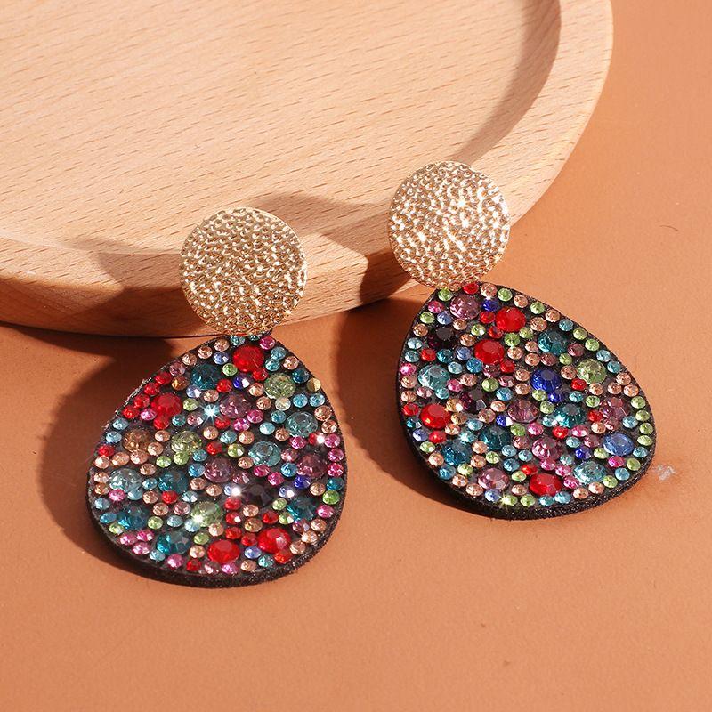 Fashion new drop-shaped diamond earrings Bohemian color diamond earrings metal earrings for women nihaojewelry NHRN237279
