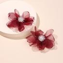 Fashion fairy chiffon flower earrings netting crystal beads flower cloth earrings for women wholesale nihaojewelry NHRN237281