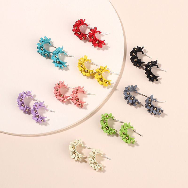 multi-color flower earrings forest fashion petal earrings wholesale nihaojewelry NHRN237284