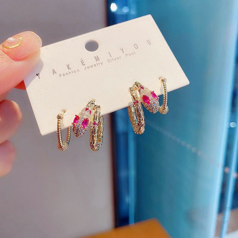 fashion unlimited aura color zircon micro-inlaid snake-shaped geometric ear ring wholesale nihaojewelry NHCG237303