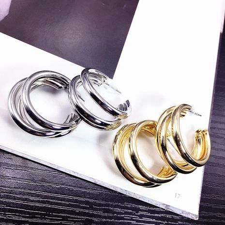 All-match nouvelle mode coréenne à la mode boucles d'oreilles en alliage métallique tendance multicouche boucles d'oreilles simples en gros nihaojewelry NHFT237306's discount tags