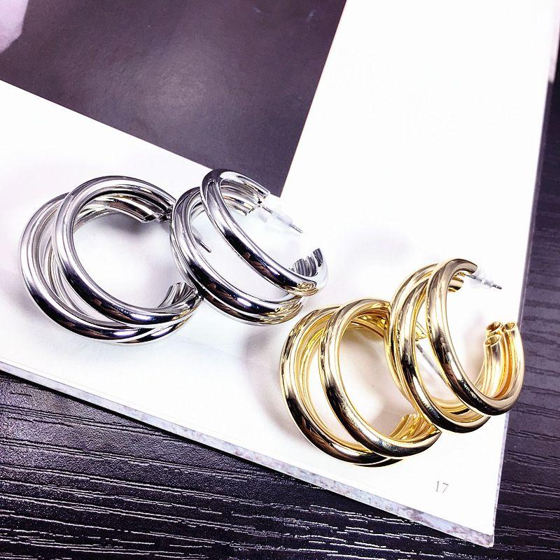 All-match new Korean fashion trendy metal alloy earrings multi-layer trend simple earrings wholesale nihaojewelry NHFT237306
