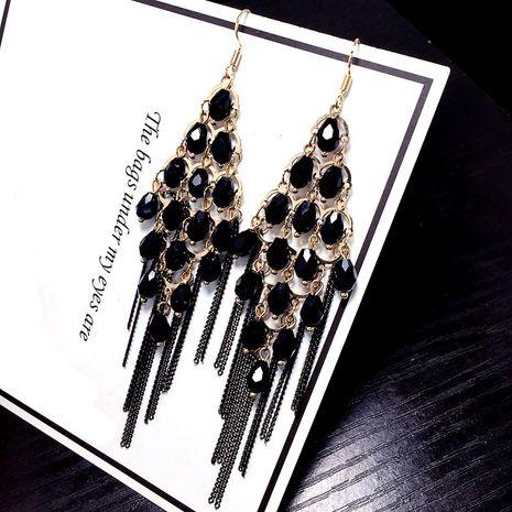 Cristal de glaçure de couleur coréenne clignotant diamant double face portant boucle d'oreille en gros nihaojewelry NHFT237307's discount tags