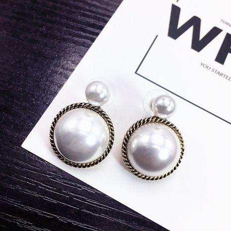 s925 aiguille en argent rétro boucles d'oreilles rondes grandes perles style port boucles d'oreilles simples et élégantes en gros nihaojewelry NHFT237309's discount tags
