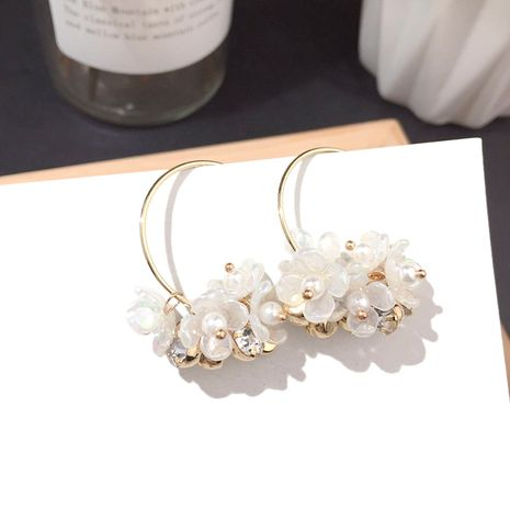 New floral big round Earring Silver Needle earrings wholesale nihaojewelry NHFT237311's discount tags