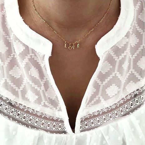 Mode nouvelle chaîne de clavicule en alliage d'or rétro simple lettre anglaise pendentif collier nihaojewelry NHPJ237312's discount tags