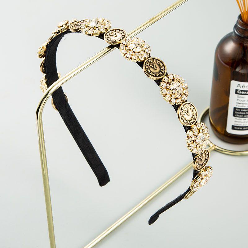 Fashion Baroque retro flash diamond headband for women alloy wild Korean hair accessories hot sale wholesale NHLN237341