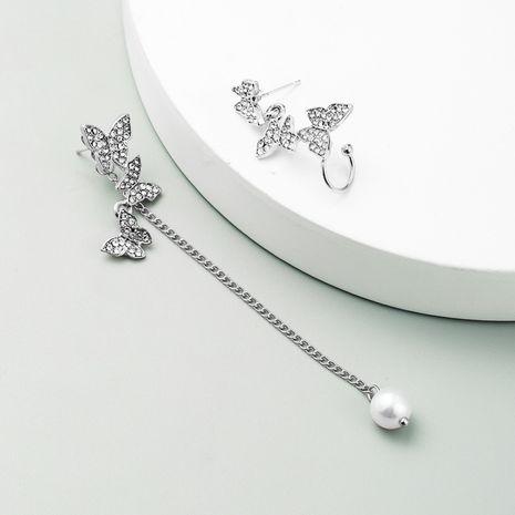 Korean Butterfly asymmetric long pearl earrings alloy rhinestone earrings ear bone clip wholesale nihaojewelry NHLN237349's discount tags