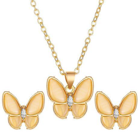 Mode nouvel ensemble de bijoux collier papillon opale polyvalent simple élégant boucles d'oreilles papillon en nacre blanche nihaojewelry NHDP237061's discount tags