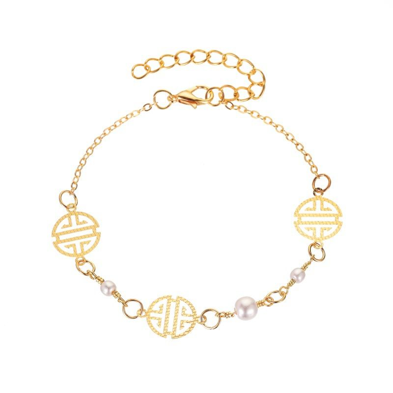 Fashion new footwear trend round pattern pearl geometric anklet  alloy abklet summer girl anklet nihaojewelry NHDP237049