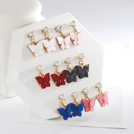 Korean style hot selling sweet color zircon acrylic butterfly earrings simple earrings wholesale nihaojewelry NHDP237047's discount tags