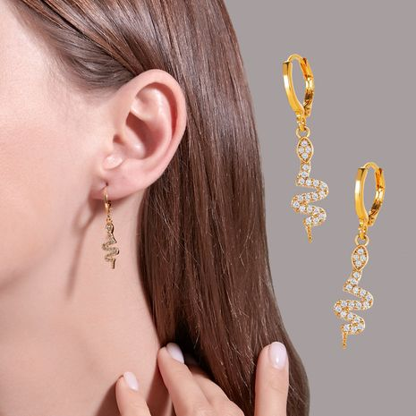 New hot selling fashion exaggerated snake-shaped diamond-studded snake earrings wholesale nihaojewelry NHDP237067's discount tags
