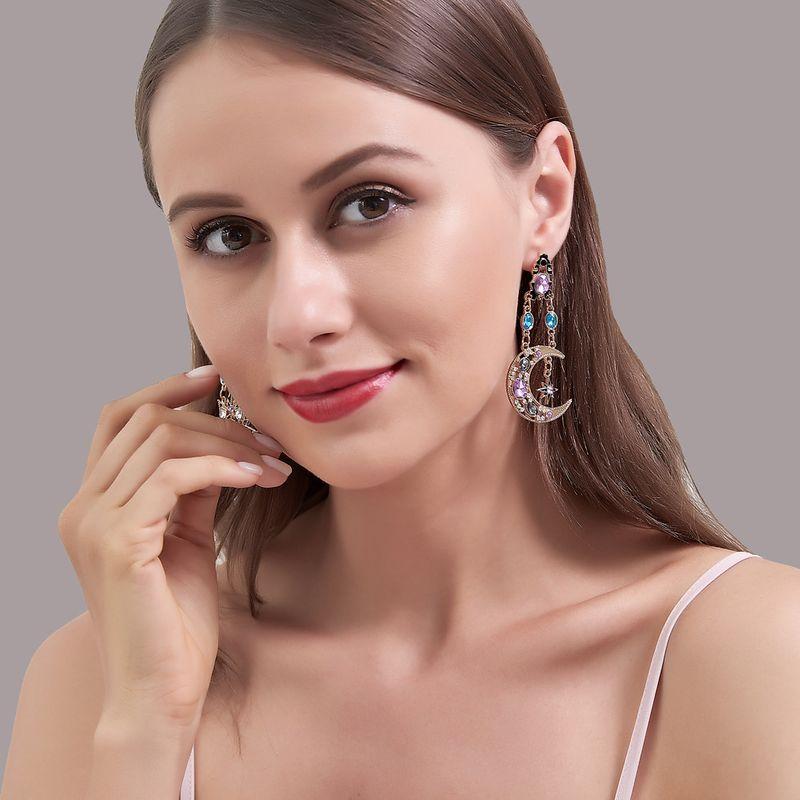New hot sale Baroque Retro Exaggerated Sun Moon Earrings  Long Asymmetrical Earrings wholesale nihaojewelry NHDP237050