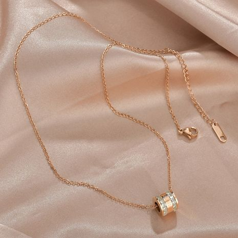 Korean wild titanium steel necklaces rose gold Roman numerals two-ring diamond necklace for women tide clavicle chain nihaojewelry NHHF237037's discount tags