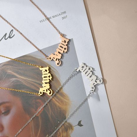 Korean new boutique simple niche 18K gold letter Ange pendant necklace women's clavicle chain nihaojewelry NHHF237027's discount tags
