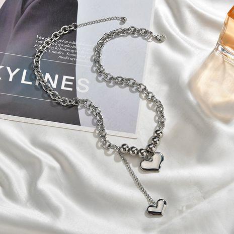 Collier d'amour simple coréen pour femmes mode chaîne de la clavicule niche amour pendentif en acier inoxydable bijoux géométriques nihaojewelry NHHF237012's discount tags