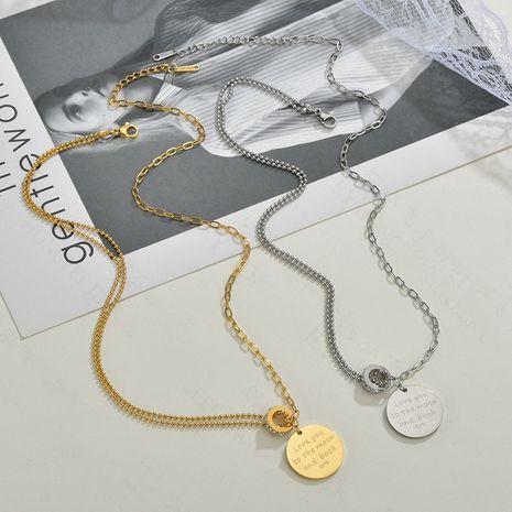 Mode offre spéciale bijoux lettre ronde marque collier pour femmes mode hip-hop en acier inoxydable pendentif diamant cercle collier nihaojewelry NHHF237010's discount tags
