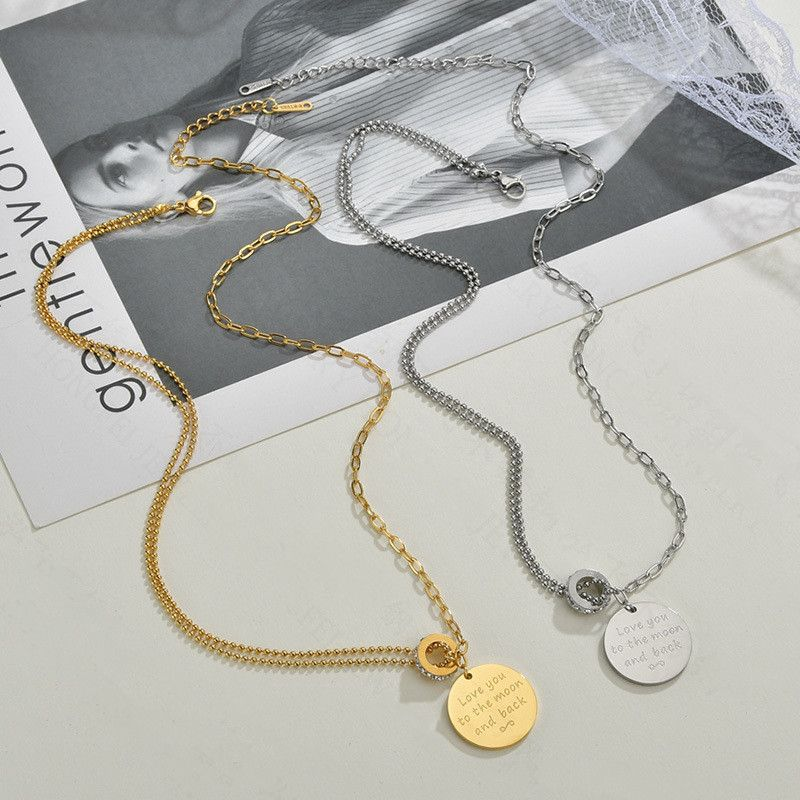 Fashion hot sale jewelry letter round brand necklace for women fashion hip-hop stainless steel pendant diamond circle necklace nihaojewelry NHHF237010