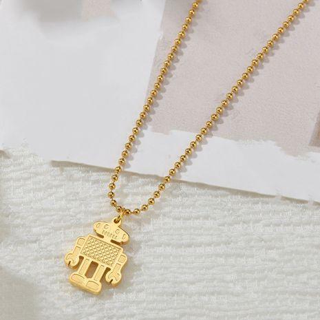 Collier de robot en trois dimensions de mode pour les femmes pendentif tendance chaîne de clavicule en acier inoxydable nihaojewelry NHHF237002's discount tags
