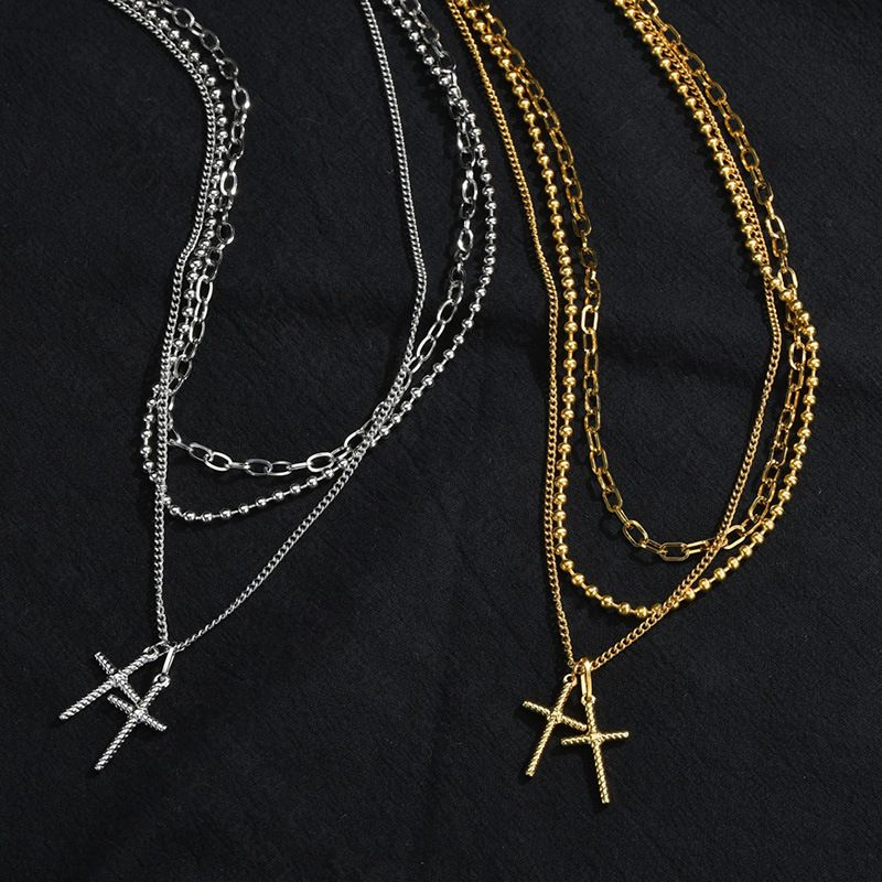 Fashion cross multilayer necklace hip hop stainless steel necklace for women retro pendant net red long section fashion necklaces NHHF237001