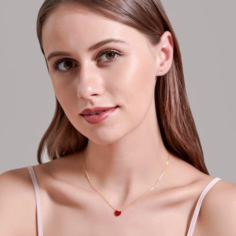 Collier de mode coréen simple amour rouge vitalité fille sauvage petit coeur rouge pendentif chaîne de la clavicule en gros NHDP237072's discount tags