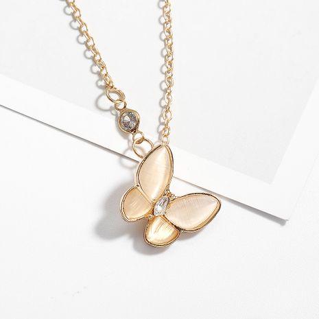 Collier papillon opale classique coréen élégant chaîne de clavicule sertie de diamants rétro chaîne de clavicule en nacre blanche pour femme NHDP237048's discount tags