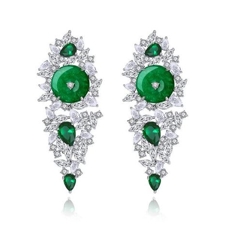 fashion banquet ladies earrings green chalcedony long earrings gift wholesale nihaojewelry NHTM237120's discount tags
