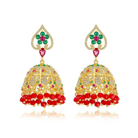 Stud Earrings Color Hollow Ethnic Style Lady Copper Inlaid Zirconium Tassel Earrings wholesale nihaojewelry NHTM237126's discount tags