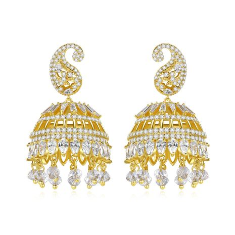 banquet bell hollow ladies pearl pendant earrings wholesale nihaojewelry NHTM237123's discount tags