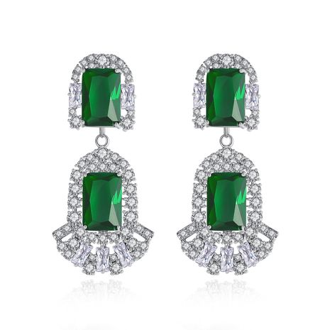 fashion Korean sweet square ladies copper inlaid zirconium earrings wholesale nihaojewelry NHTM237112's discount tags