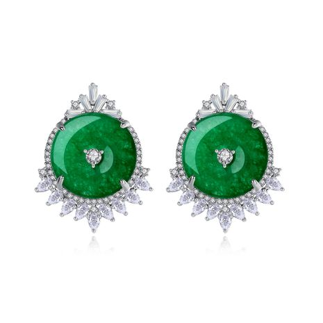 fashion ethnic style banquet earrings green chalcedony earrings gift wholesale nihaojewelry NHTM237110's discount tags