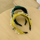 Fashion headband solid color fabric knotted hair band retro womens pearl hair bundle simple bowknot  headband NHSM237098