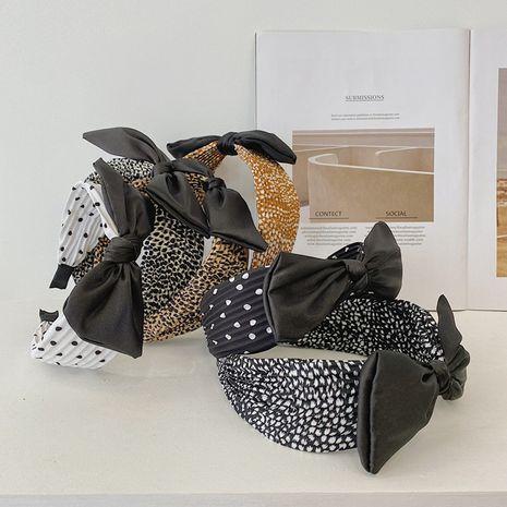 Korean leopard print folds bowknot hair band new fashion wide brim headband   wholesale nihaojewelry NHSM237088's discount tags