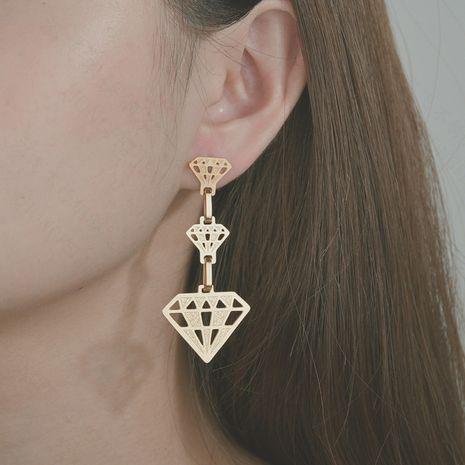 new hollow shape long large hoop earrings stainless steel three-layer crown earrings wholesale nihaojewelry NHHF237032's discount tags