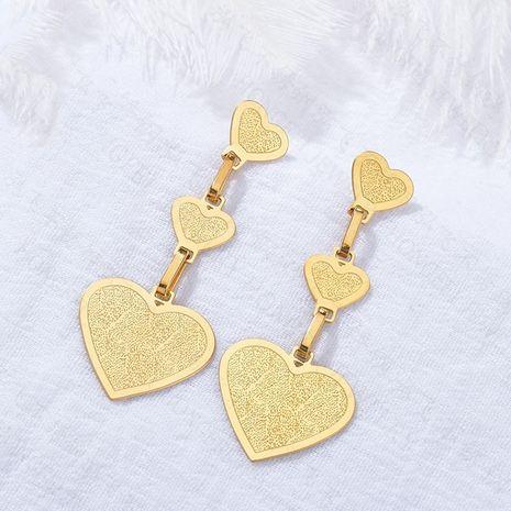 Boucles d'oreilles d'amour brillantes multicouches en forme de coeur simples en acier inoxydable bijoux exagérés en gros nihaojewelry NHHF237036's discount tags