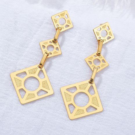créatives dames creuses nouvelles boucles d'oreilles carré brillant grand cercle en acier inoxydable boucles d'oreilles pendentif populaires en gros nihaojewelry NHHF237028's discount tags