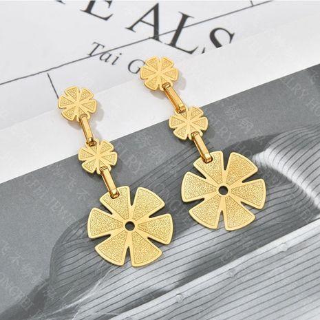 nouvelle tendance boucles d'oreilles fleur boucles d'oreilles créatives multicouches en acier inoxydable boucles d'oreilles rétro en gros nihaojewelry NHHF237031's discount tags
