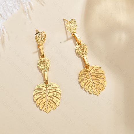 fashion jewelry exaggerated leaf earrings simple stainless steel hollow earrings glossy multi-layer long jewelry wholesale nihaojewelry NHHF237029's discount tags