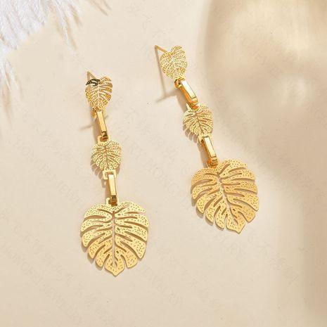 bijoux fantaisie boucles d'oreilles feuilles exagérées simples boucles d'oreilles creuses en acier inoxydable brillant multi-couches longs bijoux en gros nihaojewelry NHHF237029's discount tags