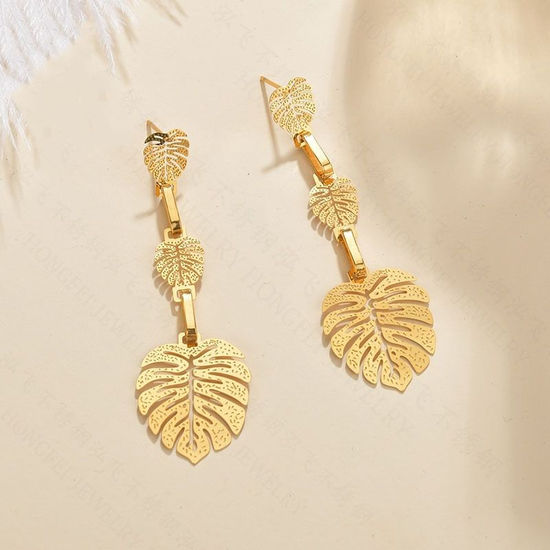 fashion jewelry exaggerated leaf earrings simple stainless steel hollow earrings glossy multi-layer long jewelry wholesale nihaojewelry NHHF237029
