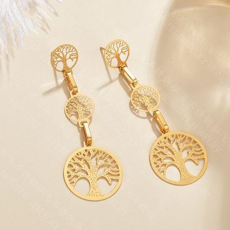big earrings tree of life long earrings new hollow circle earrings stainless steel jewelry wholesale nihaojewelry NHHF237026's discount tags