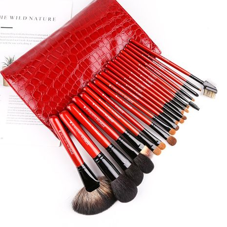 Fashion hot sells 21 high-grade makeup brushes red crocodile skin pattern wool and wooden handle nihaojewelry NHAY237419's discount tags
